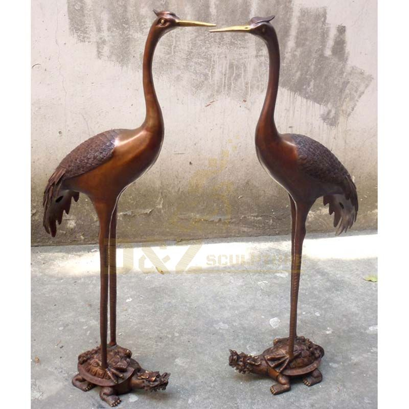 Metal Bird Statue Life Size Crane Bronze Sculpture