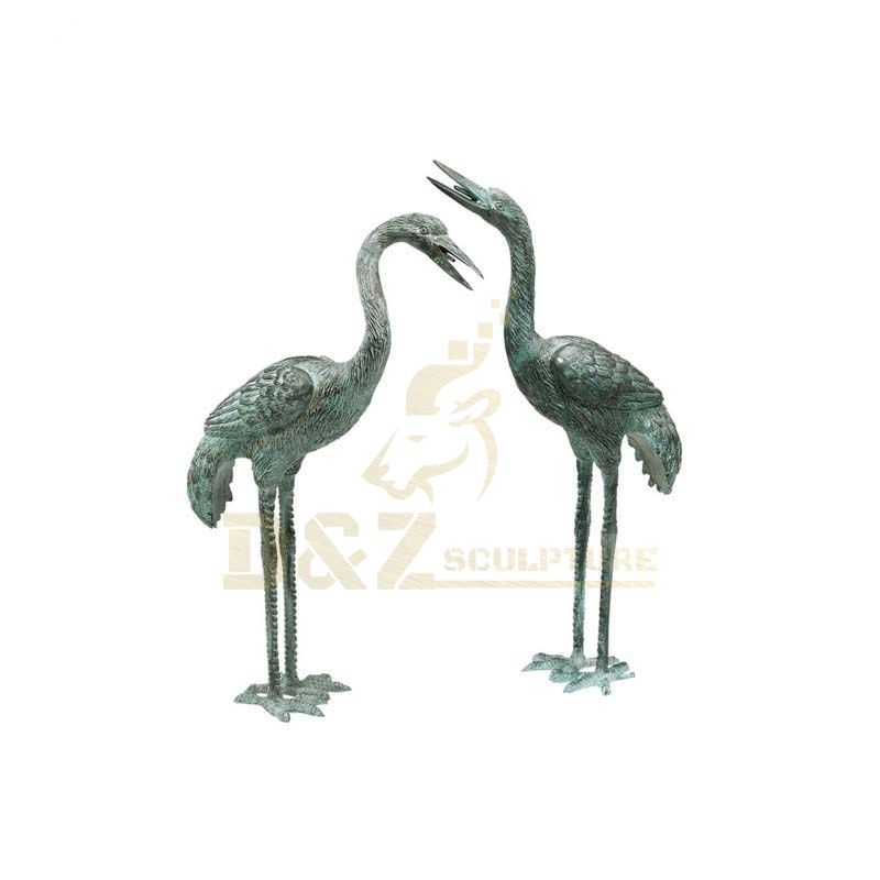 Life Size Metal Animals Crane Statue Bronze Sculpture