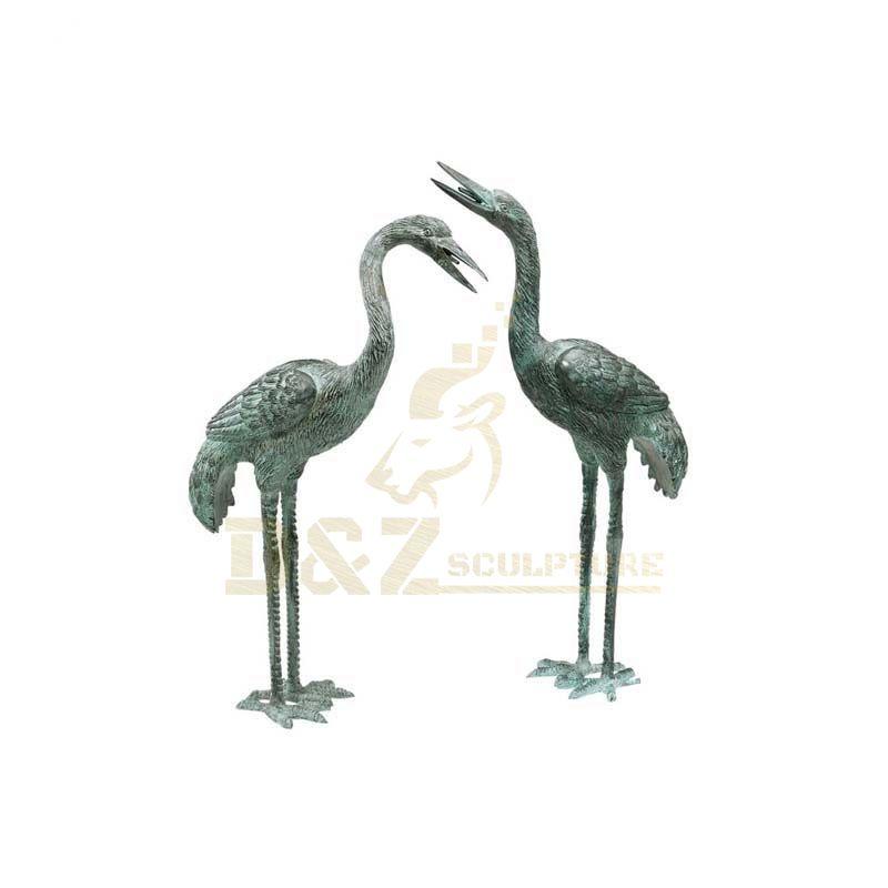 Life Size Metal Animals Crane Statue Bronze Sculpture