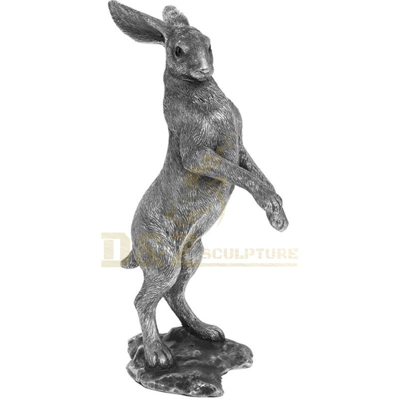 Outdoor life size abstract city street decor metal cute rabbit bronze statue