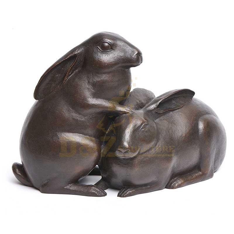 Home Decoration Lovely Casting Technique Bronze Antique Rabbit Statue