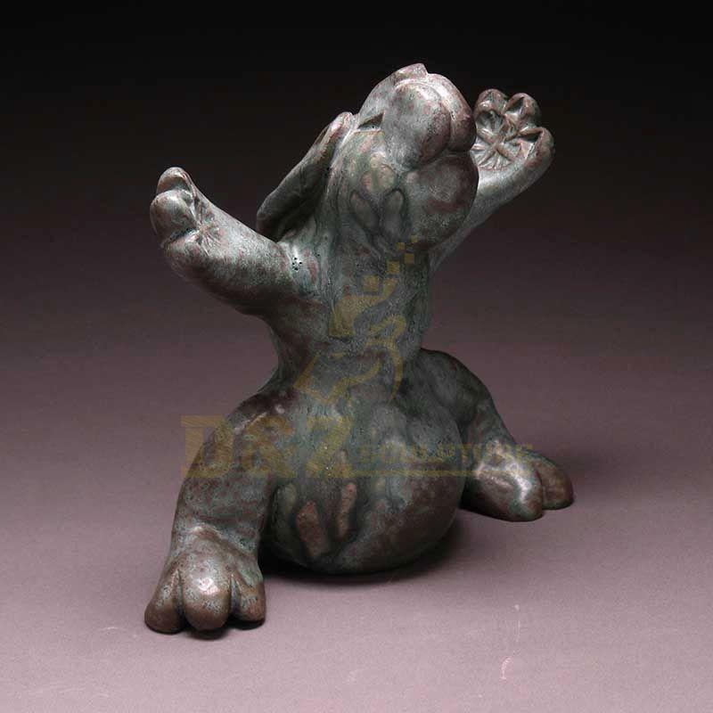 Creative Design Garden Decoration Cast Lovely Yoga Rabbit Bronze Sculpture