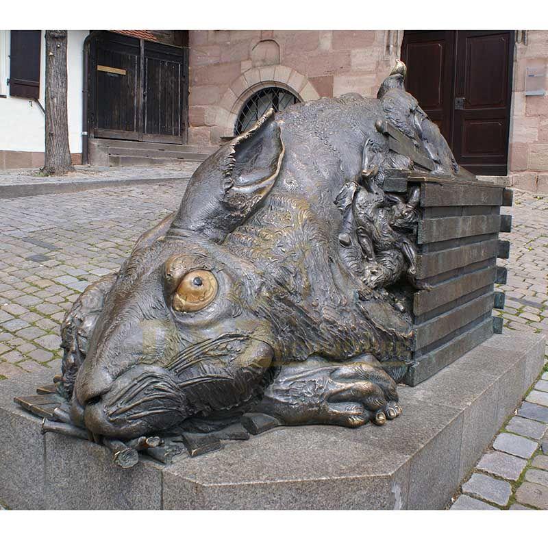 Outdoor Decoration Bronze Animal Rabbit Statues Sculpture