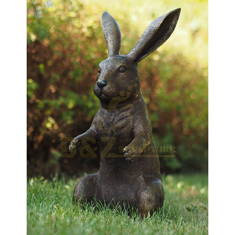 Outdoor Beautiful Cast Standing Bronze Rabbit Sculpture