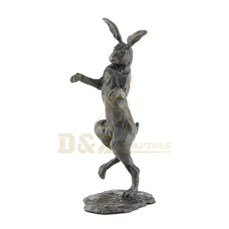 Antique Metal Animal Jumping Bronze Rabbit Sculpture