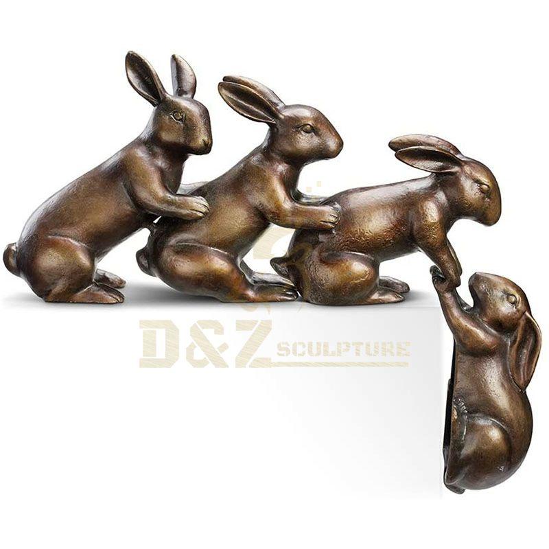 Outdoor Garden Decorative Bronze Rabbit Sculpture Animal Bronze Statue