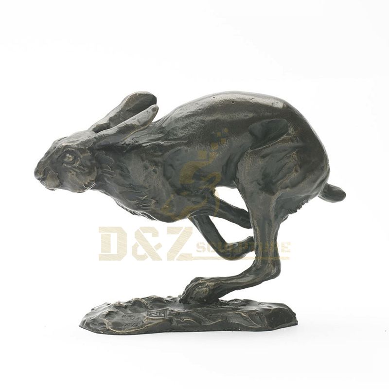 Outdoor Bronze Casting Jumping Rabbit Garden Sculpture