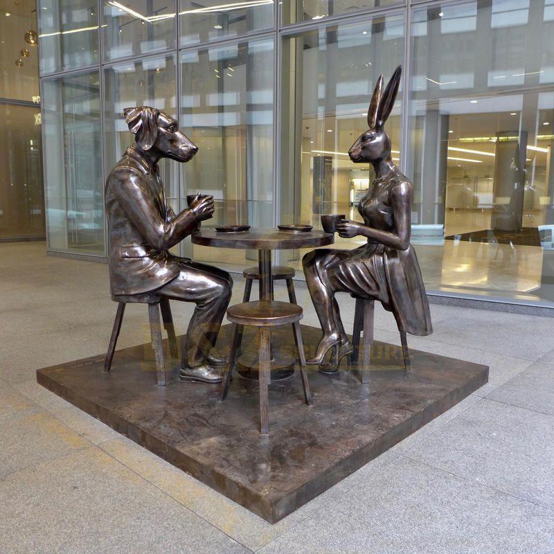 Art Modern Statue Dog Man With Rabbit Girl Bronze Sculpture