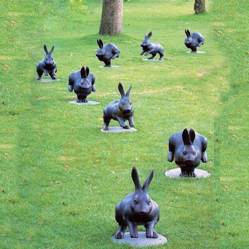 Aniaml Sculptures Running Rabbits Bronze Sculpture