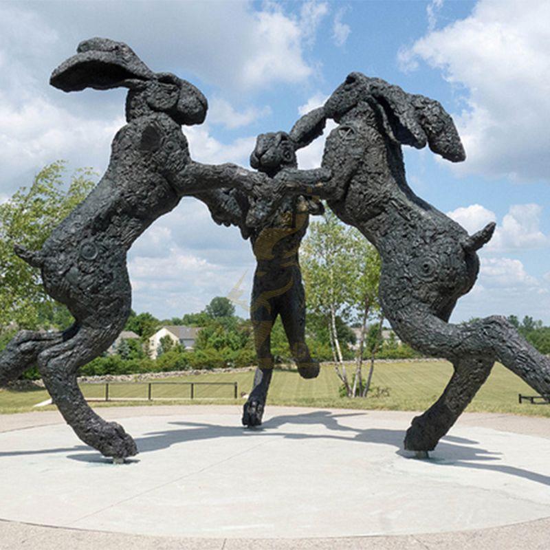Cast Bronze Three Rabbit Statues Cast Bronze Rabbit Sculpture