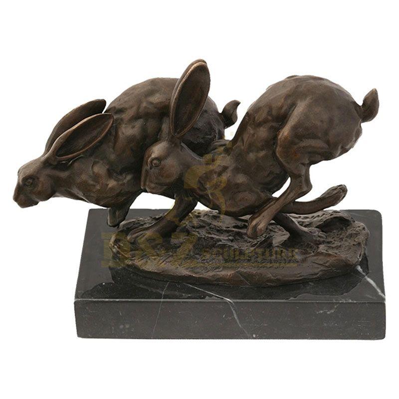 Creative Garden Lovely Coulpe Brass Rabbit Sculpture