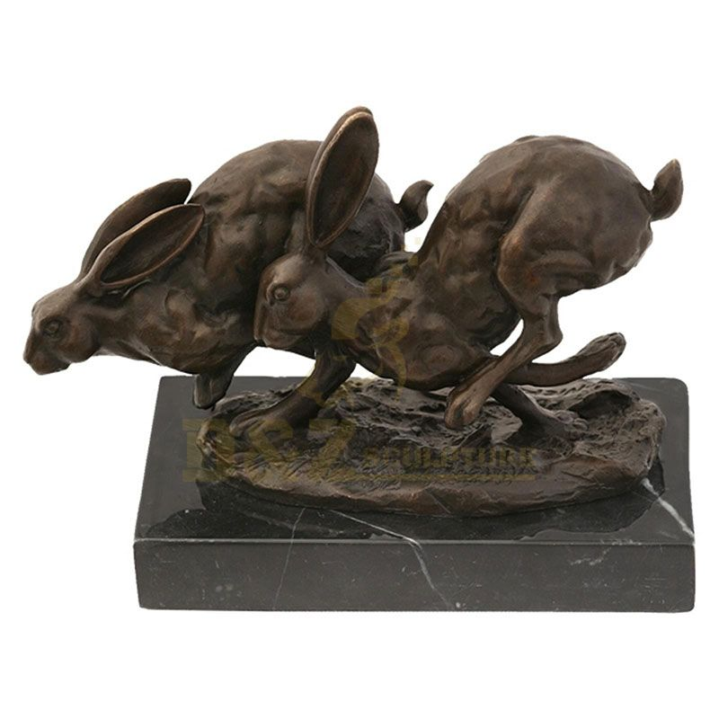 Creative Garden Lovely Coulpe Brass Rabbit Sculpture