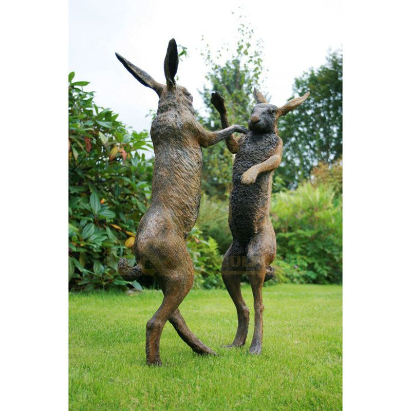 Park Decoration Metal Casting Sculpture Modern Life Size Bronze Rabbit Statue