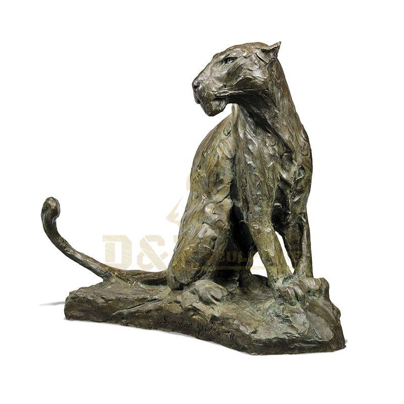 Bronze Leopard Sculptures Outdoor Animal Decoration Life Size Panther Statue