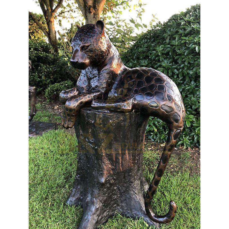 Outdoor Decoration Metal Life Size Bronze Leopard Sculpture