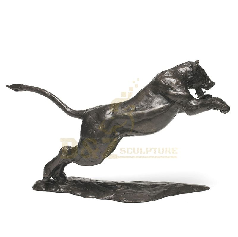 Modern Abstract Black Panther Sculpture Bronze Leopard Statue