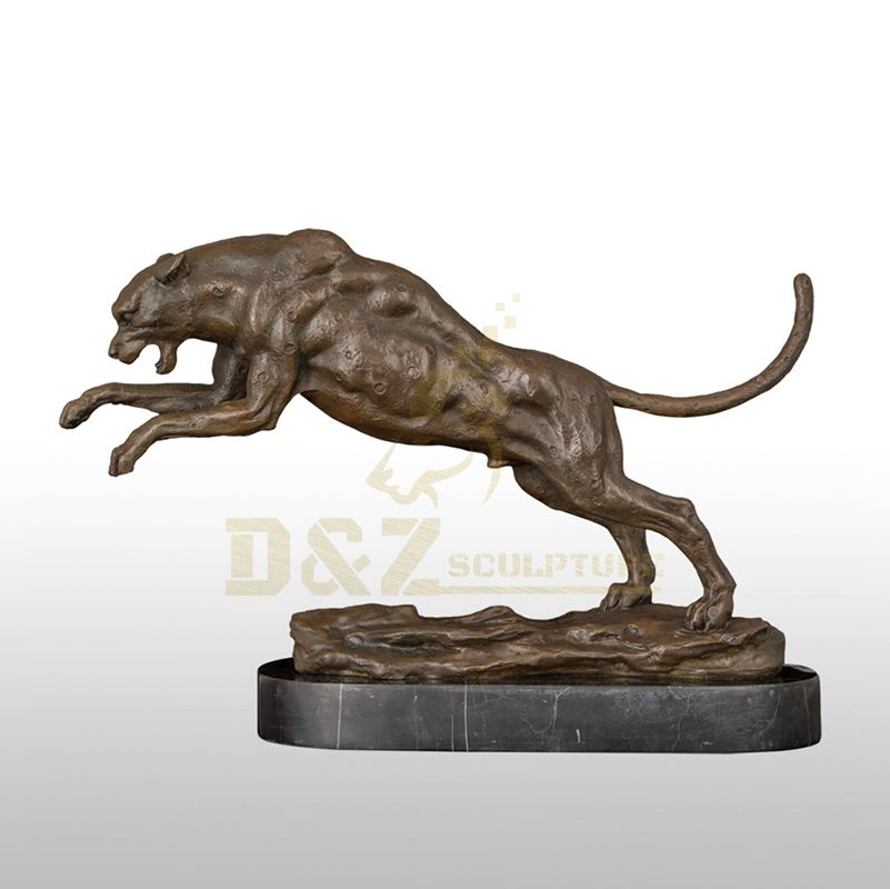 Bronze Casting Running Panther Leopard Statues