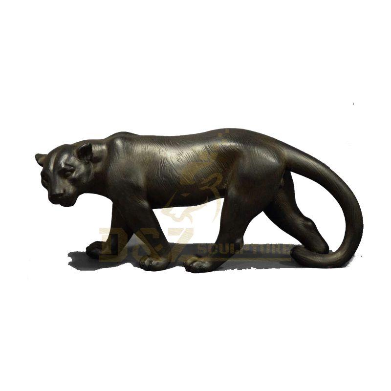 Outdoor Decoration Life Size Black Leopard Bronze Statue Animal Sculpture For Sale