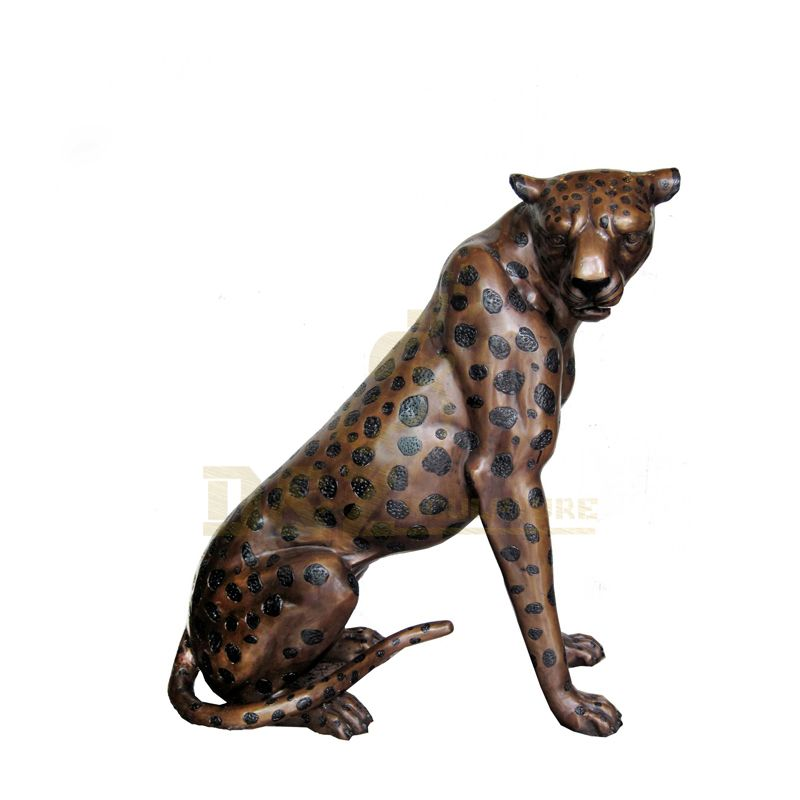 Life Size Outdoor Animal Statue Metal Bronze Leopard Sculpture