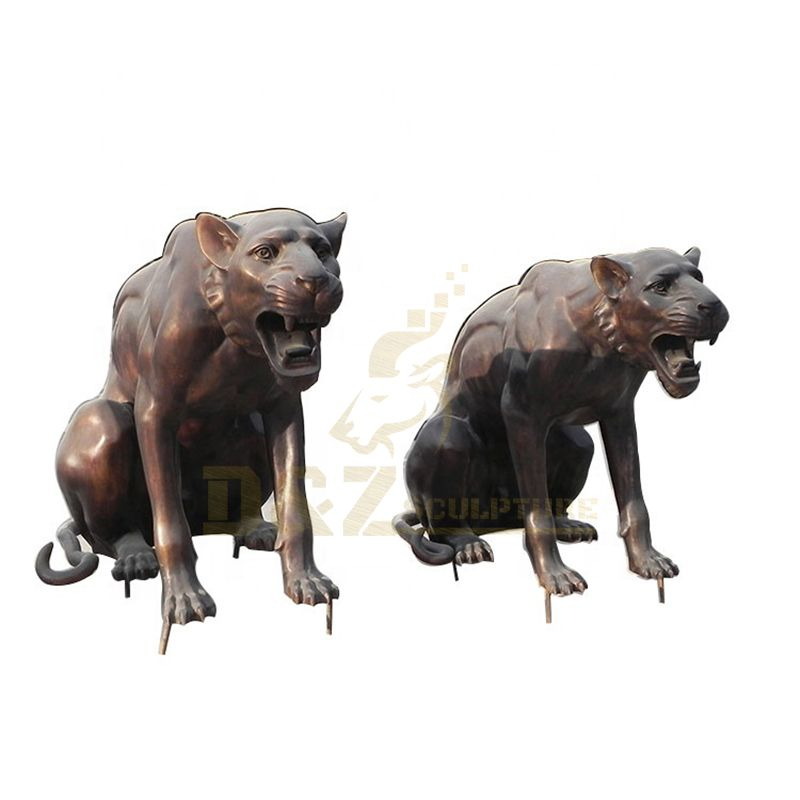 Factory Supply Bronze Casting Animal Pairs Leopard Sculpture