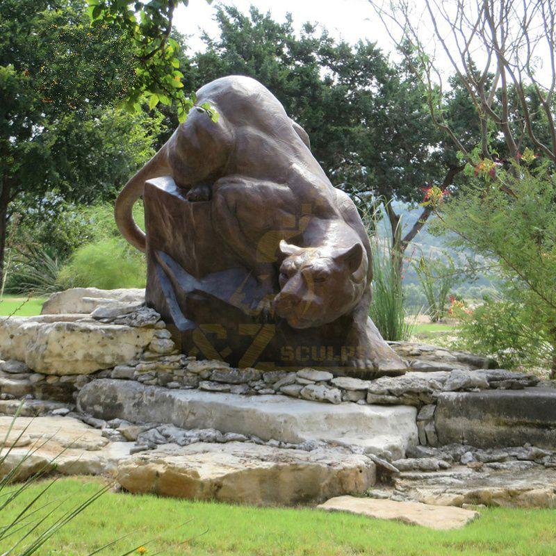 Garden Decorative Life Size Metal Animal Brass Leopard Statues Bronze Panther Sculpture