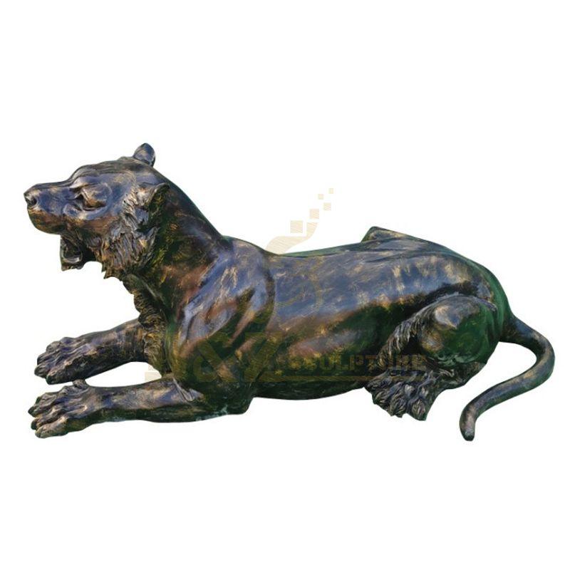 Animal Theme Metal Craft Bronze Leopard Sculpture For Sale