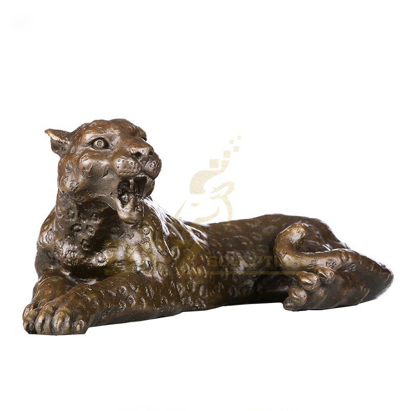 Garden Decorative Brass Statue Bronze Leopard Animal Sculpture