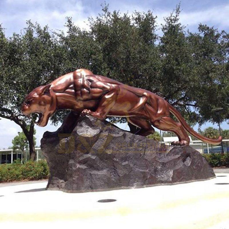 Modern Life Size Abstract Bronze Leopard Sculpture