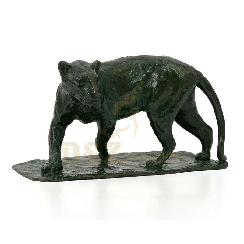 Life Size Black Leopard Bronze Statue Animal Sculpture