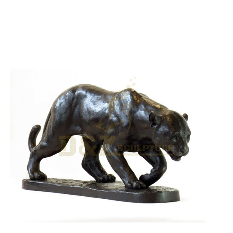 Animal Metal Garden Art Life Size Bronze Walking Leopard sculpture For Sale