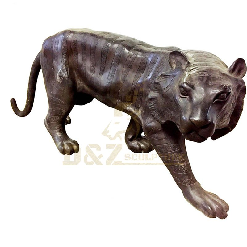 Small Animal Bronze Casting Indoor Tiger Statue
