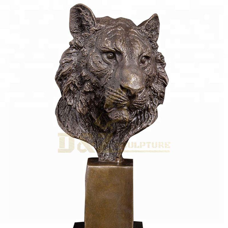 Bronze Animal Sculpture Metal Craft Bronze Tiger Head Statue
