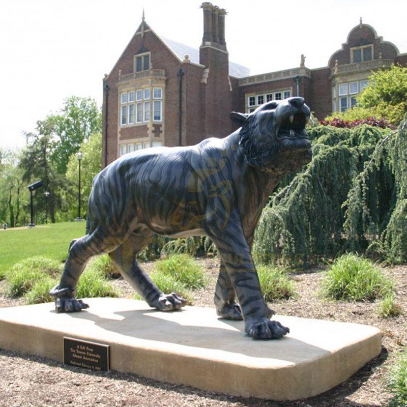 Outdoor Life Size Bronze Tiger Sculpture Metal Wildlife Animal Statue