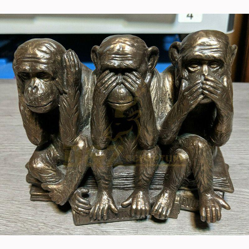 Bronze Three Garden Monkey Sculpture