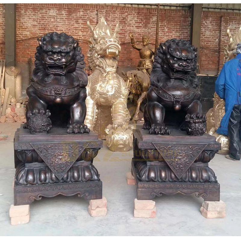 Life Size Bronze Statues Home Animal Decoration Foo Dogs Bronze Sculpture
