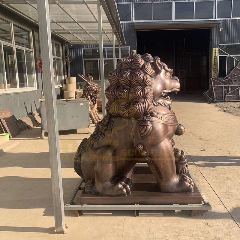 Factory Supply Chinese Brass Bronze Fu Foo Dog Statues Lion Sculpture