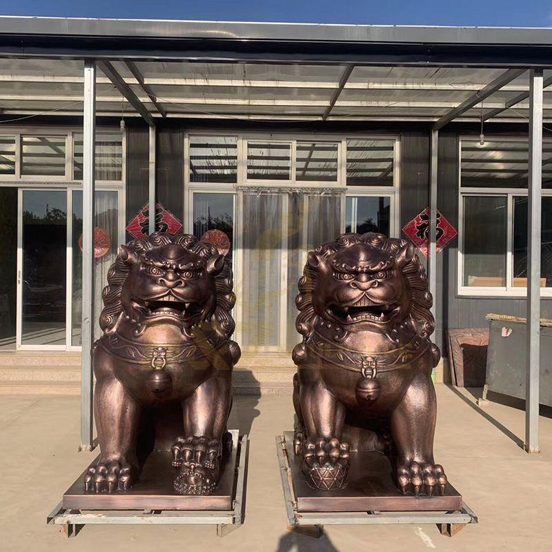 Custom Made Bronze Foo Dog Sculpture