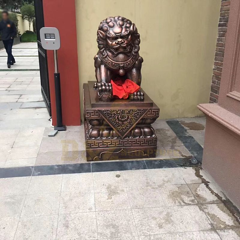 Chinese Traditional Life Size Bronze Foo Dog Statue Brass Lion Sculpture