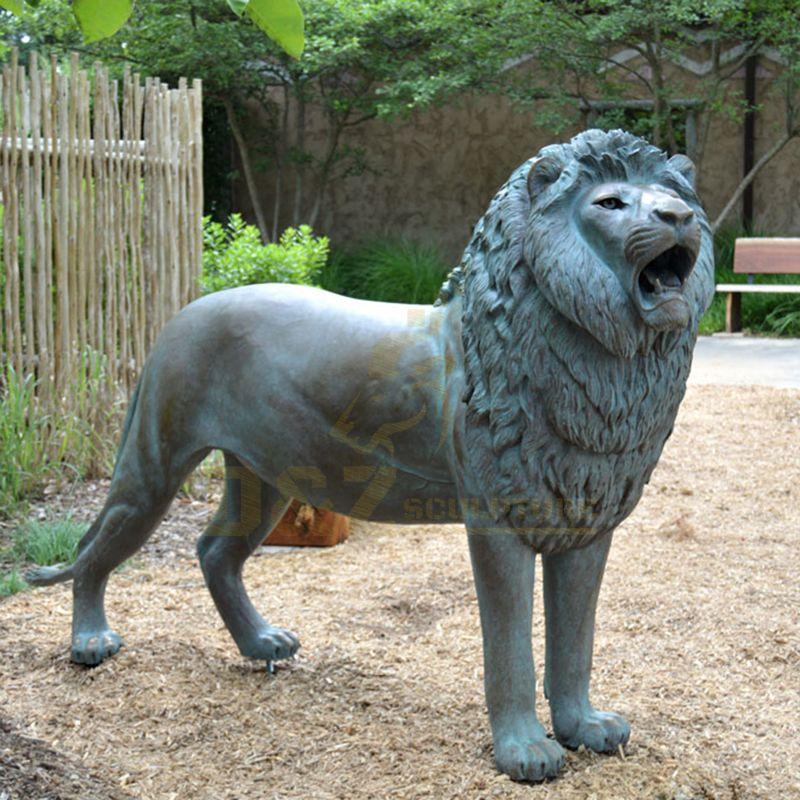 Outdoor Garden Metal Statue Life Size Bronze Roaring Lion Sculpture