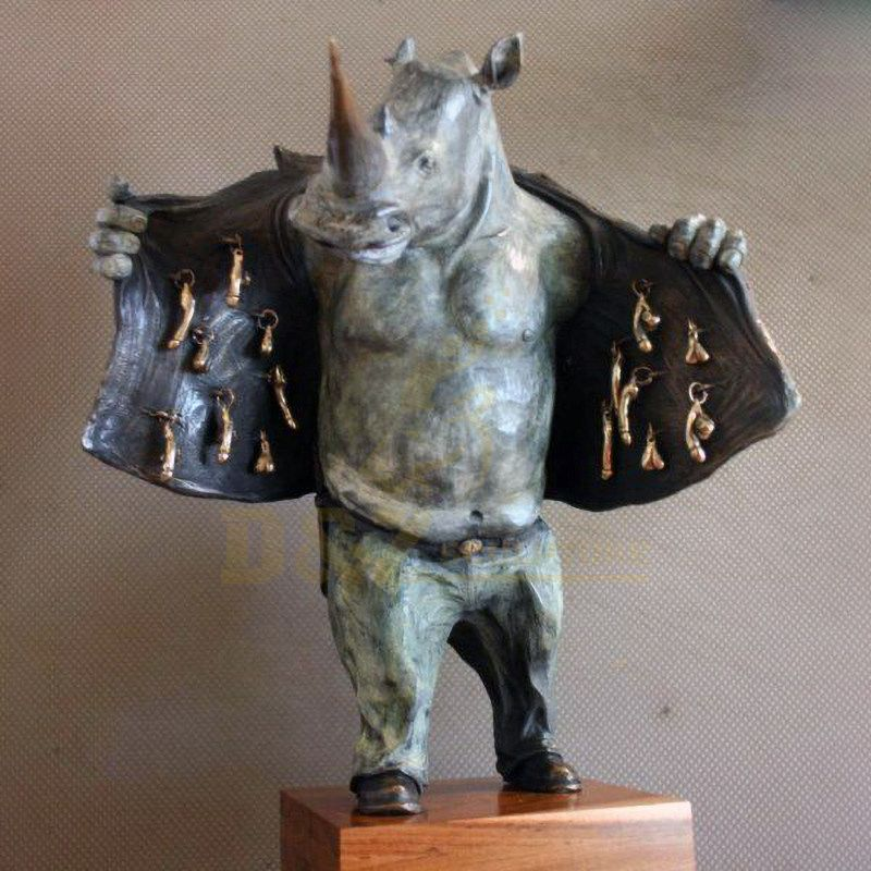 City Decoration Large Bronze Rhinoceros Sculpture