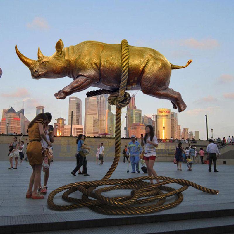 Outdoor Garden Animal Decorative Bronze Rhinoceros Sculpture