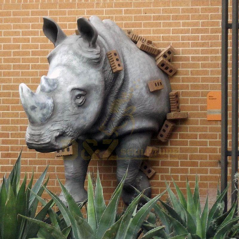 Factory Custom Bronze Rhinoceros sculpture