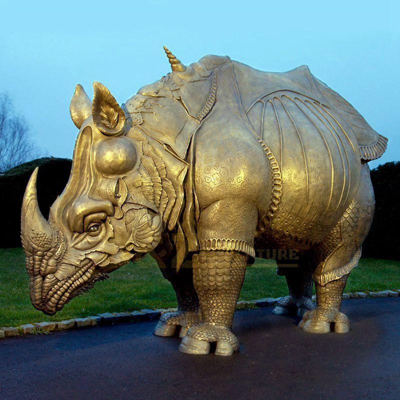 Life Size Garden Bronze Rhinoceros Sculpture Statue