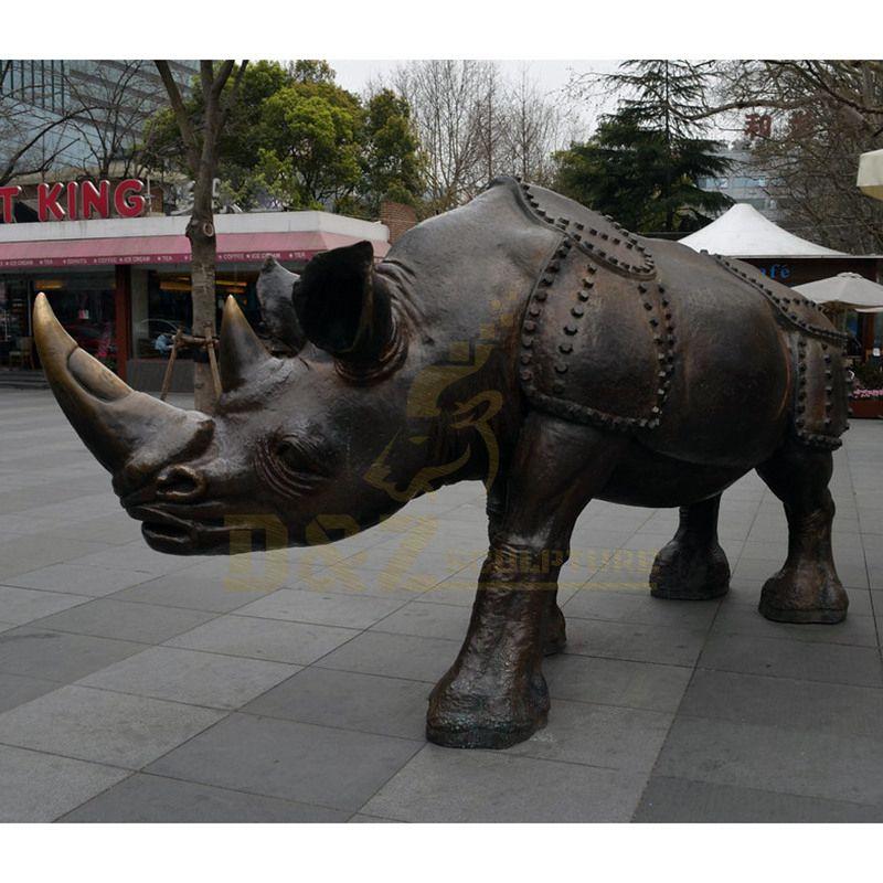 Large Copper Rhinoceros Garden Sculpture