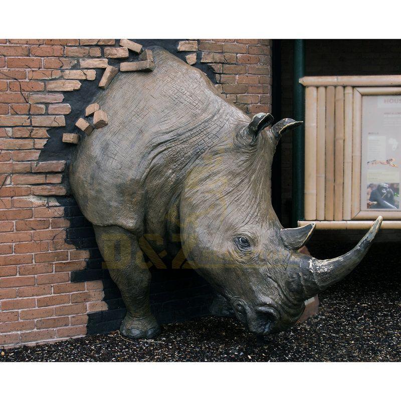 Realistic Life Size Bronze Rhino Head Statue