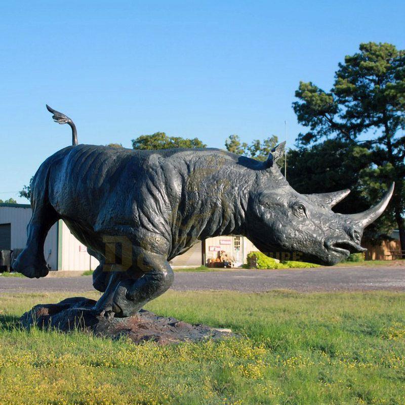 Outdoor Bronze Rhino Statue Large Copper Rhinoceros Sculpture