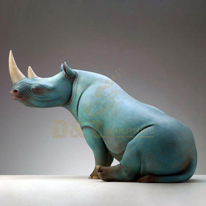 Cast Bronze Rhinoceros Statue For Garden Decoration