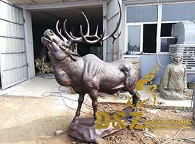 Factory custom made lost wax bronze elk sculpture matal casting decoration for garden outdoor