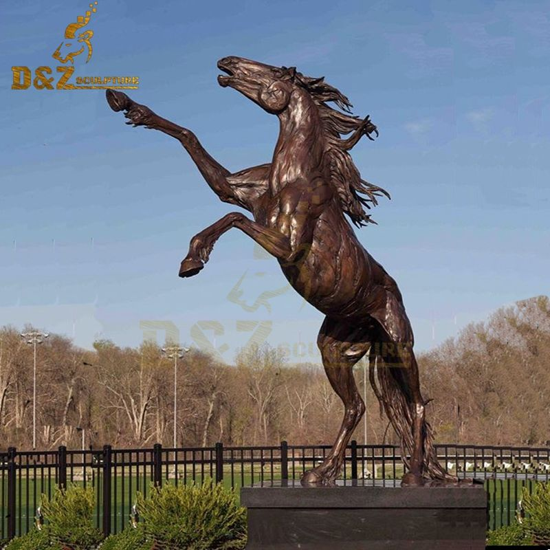 Hot sale high quality life size jumping brass horse sculpture park decoration
