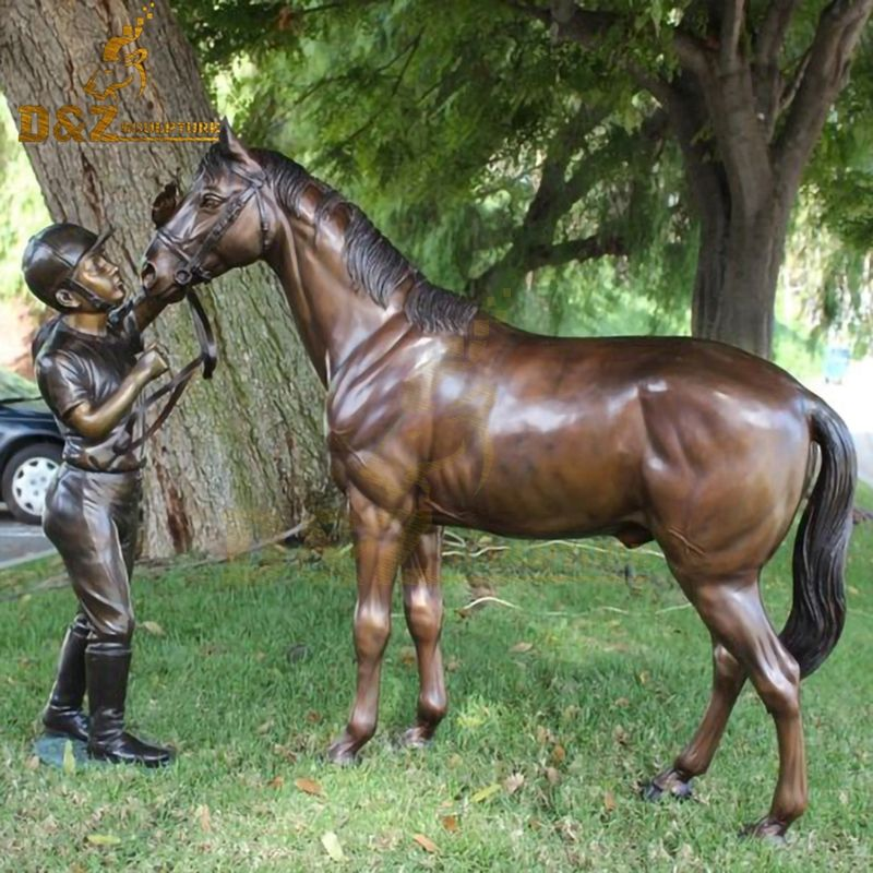 New design metal casting boy and horse bronze statue for sale